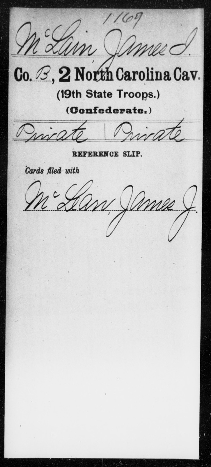 McLain, James I - Second Cavalry (19th State Troops)
