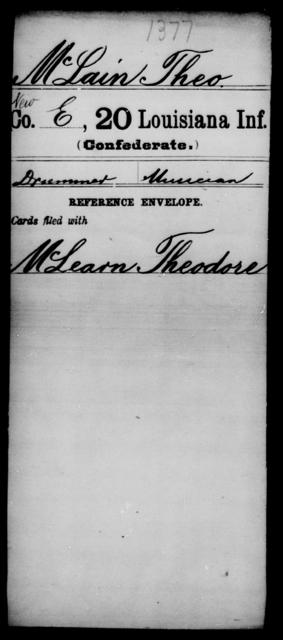 McLain, Theo - Age [Blank], Year: [Blank] - Twentieth Infantry, Le - Mo - Louisiana