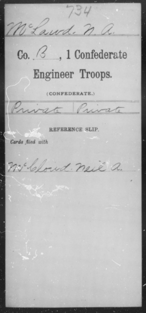 McLawd, N A - Age [Blank], Year: 1864 - First Confederate Engineer Troops, M-R - Raised Directly by the Confederate Government