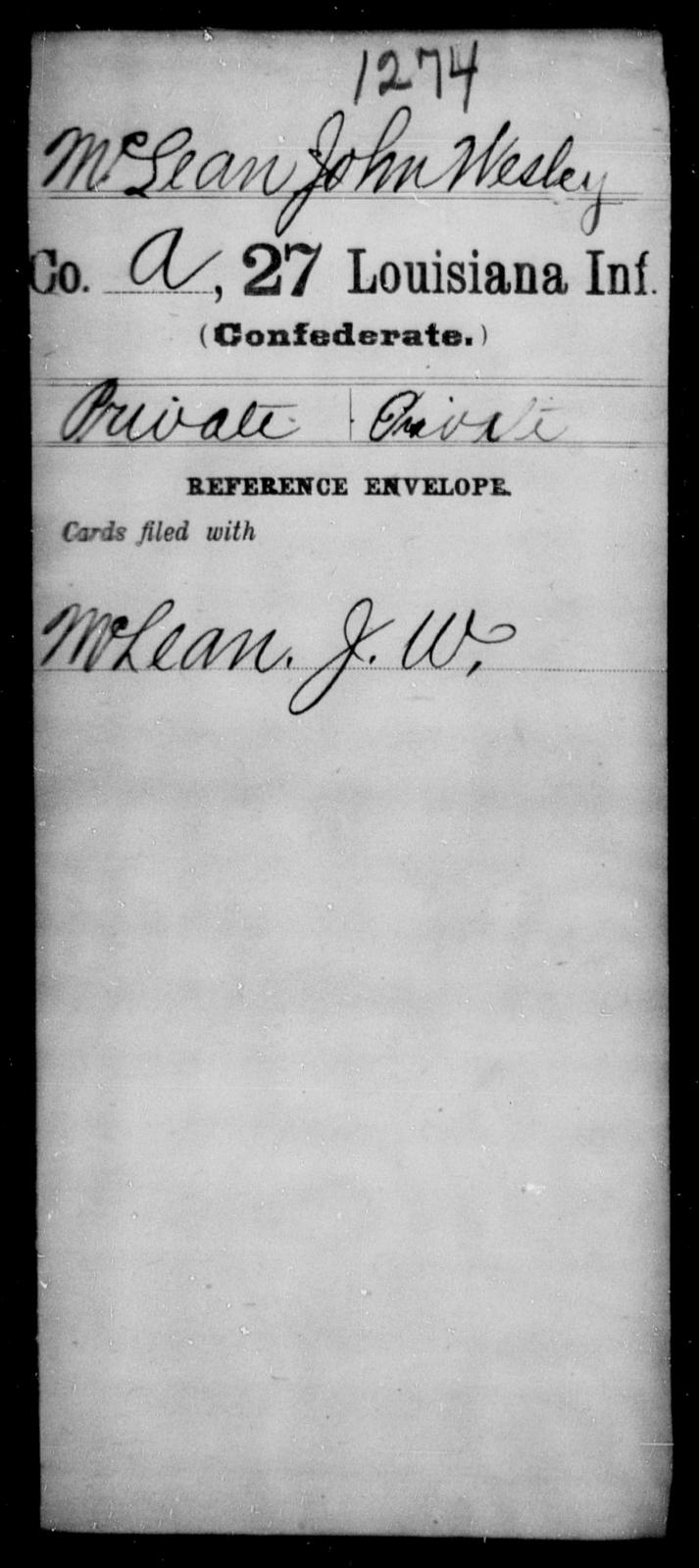 McLean, John Wesley - Age [Blank], Year: [Blank] - Twenty-seventh Infantry, M - O - Louisiana