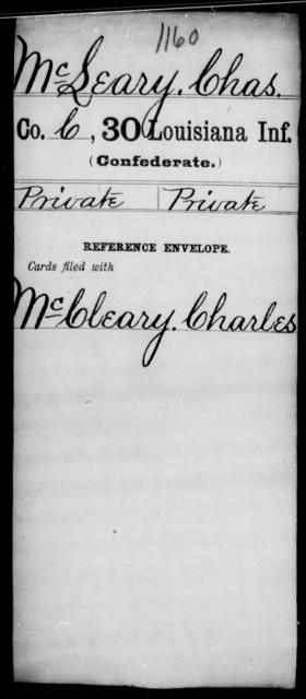 McLeary, Chas - Age [Blank], Year: [Blank] - Thirtieth Infantry, K- M - Louisiana