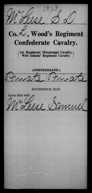 McLeese, S D - Age [Blank], Year: [Blank] - Wood's Regiment, Confederate Cavalry, M-O - Raised Directly by the Confederate Government