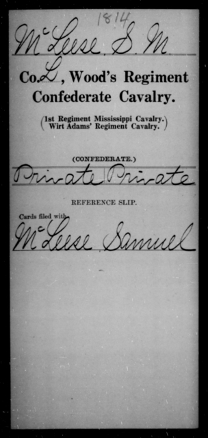 McLeese, S M - Age [Blank], Year: [Blank] - Wood's Regiment, Confederate Cavalry, M-O - Raised Directly by the Confederate Government
