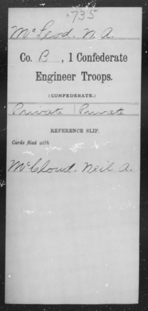 McLeod, N A - Age [Blank], Year: 1864 - First Confederate Engineer Troops, M-R - Raised Directly by the Confederate Government