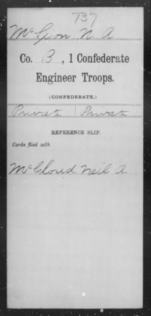 McLeon, N A - Age [Blank], Year: 1864 - First Confederate Engineer Troops, M-R - Raised Directly by the Confederate Government