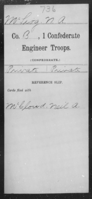McLiog, N A - Age [Blank], Year: 1864 - First Confederate Engineer Troops, M-R - Raised Directly by the Confederate Government