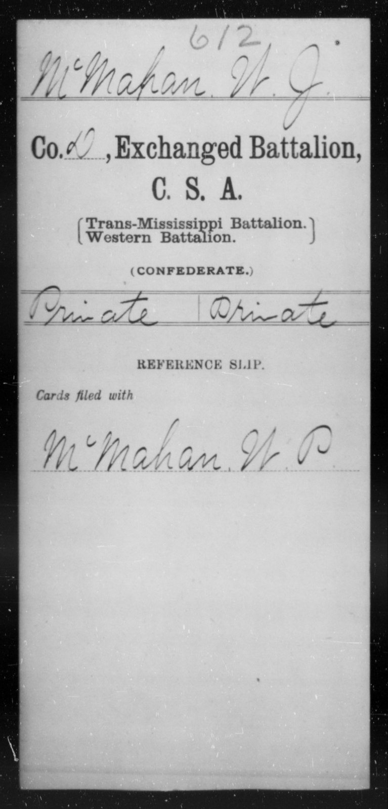 McMahan, W J - Age [Blank], Year: [Blank] - Gillum's Regiment AND Lt. Haskell's Co., Infantry AND Jackson's Co., CSA AND Capt. McDaniel's Co., Secret Service AND Stirman's Regiment, Sharp Shooters AND Tucker's Regiment, Confederate Infantry, A-D - Raised Directly by the Confederate Government
