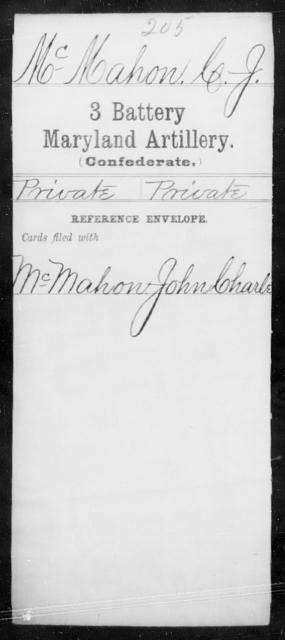 McMahon, C J - Age [Blank], Year: [Blank] - Third Battery Artillery, G-Z - Maryland