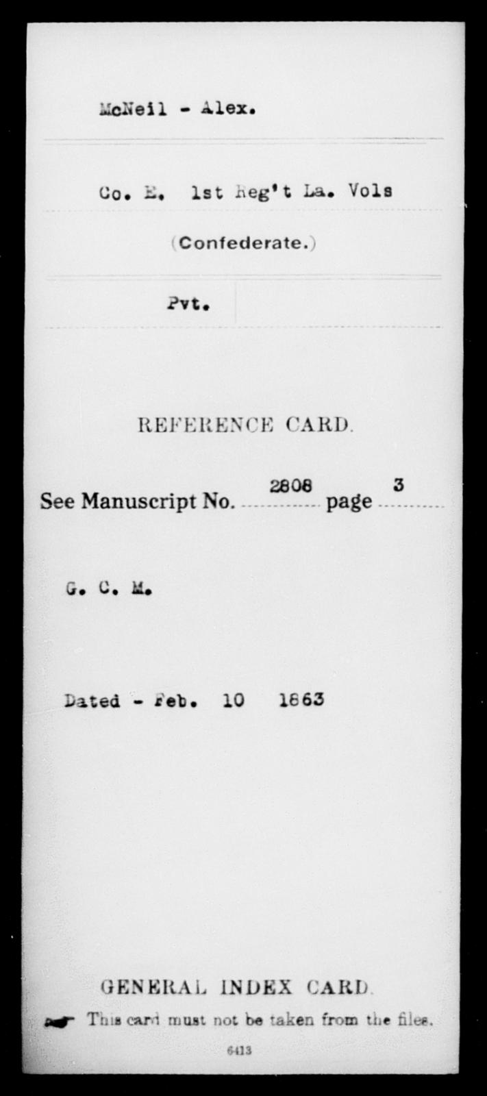 McNeil, Alex - Age [Blank], Year: [Blank] - First (Strawbridge's) Infantry, L - Mi - Louisiana