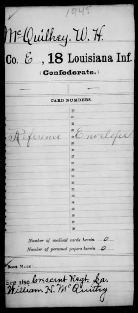 McQuilhey, W H - Age [Blank], Year: [Blank] - Eighteenth Infantry, M - Pi - Louisiana