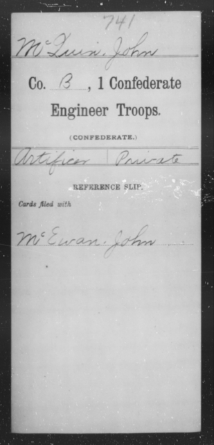 McQuin, John - Age [Blank], Year: 1864 - First Confederate Engineer Troops, M-R - Raised Directly by the Confederate Government
