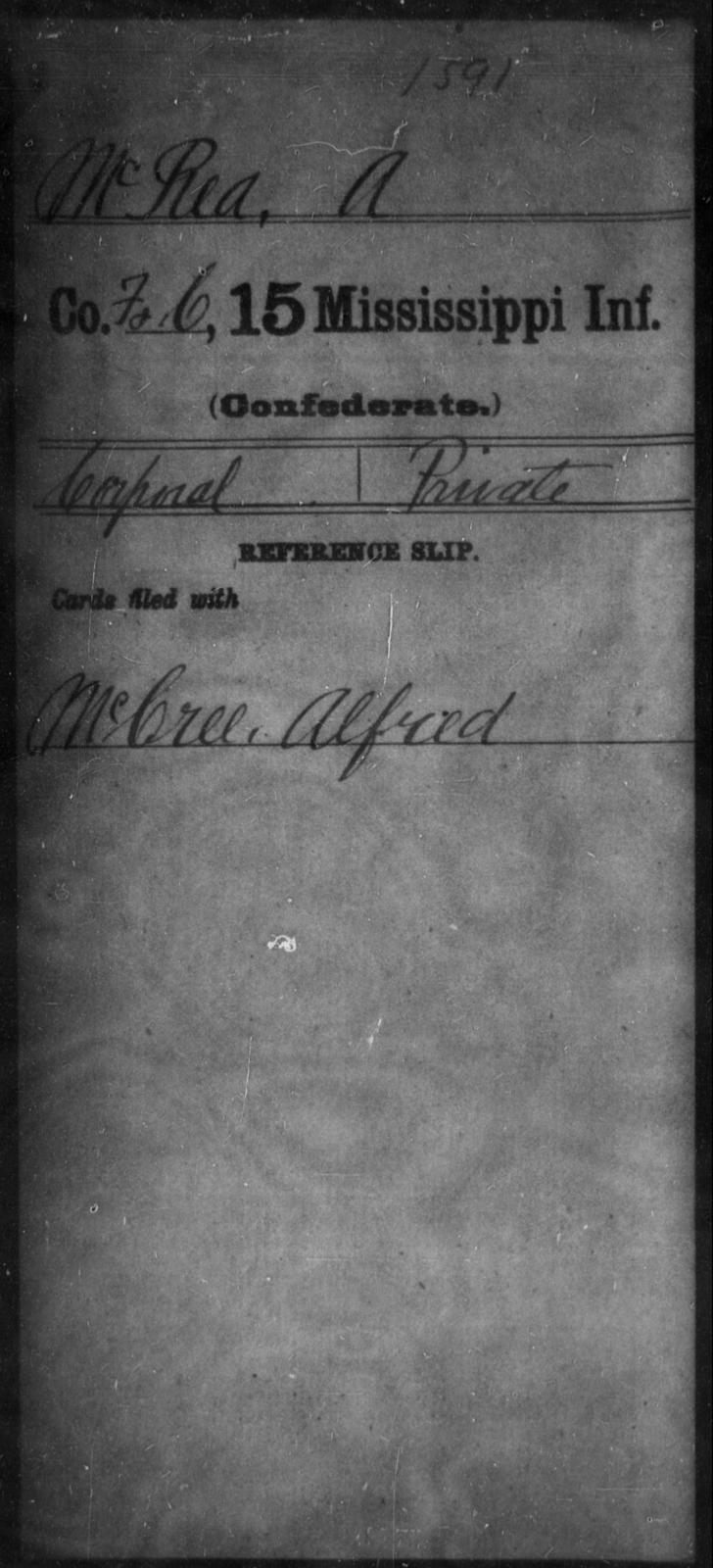 McRea, A - Age: [Blank], Year: [BLANK] - Mississippi Fifteenth Infantry, M-O