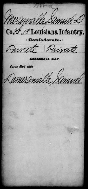 Meranville, Samuel D - Age [Blank], Year: [Blank] - Eighteenth Infantry, M - Pi - Louisiana