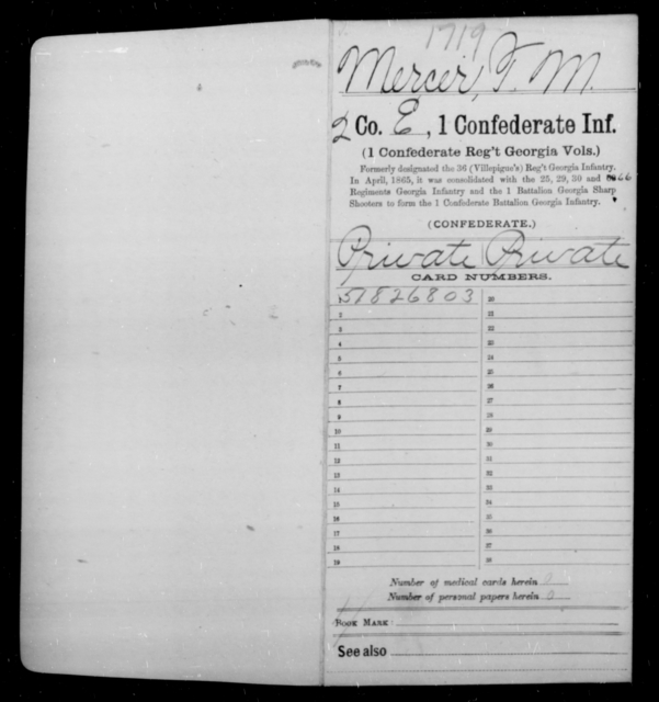 Mercer, T M - Age [Blank], Year: 1864 - First Confederate Infantry, L-M - Raised Directly by the Confederate Government