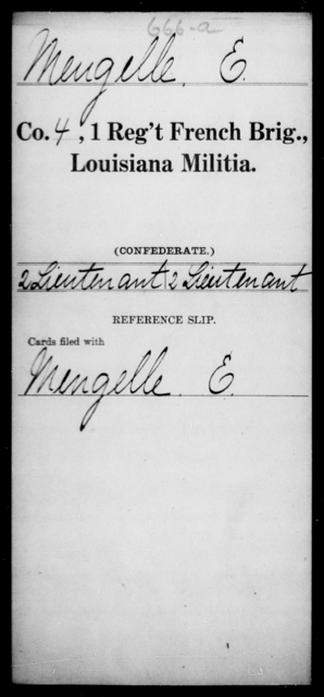 Meugelle, E - Age [Blank], Year: [Blank] - First Regiment, French Brigade, Le - Z - Louisiana