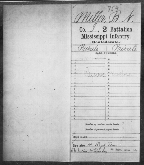 Miller, B N - Age: [Blank], Year: [BLANK] - Mississippi Second Battalion, Infantry, A-P