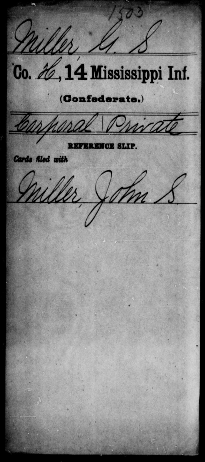 Miller, G S - Age: [Blank], Year: [BLANK] - Mississippi Fourteenth Infantry, Mc-O