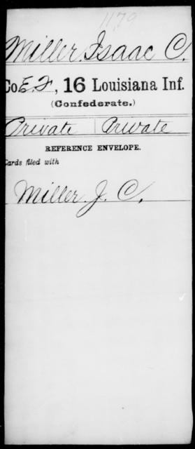 Miller, Isaac C - Age [Blank], Year: [Blank] - Sixteenth Infantry, Ki - Mi - Louisiana
