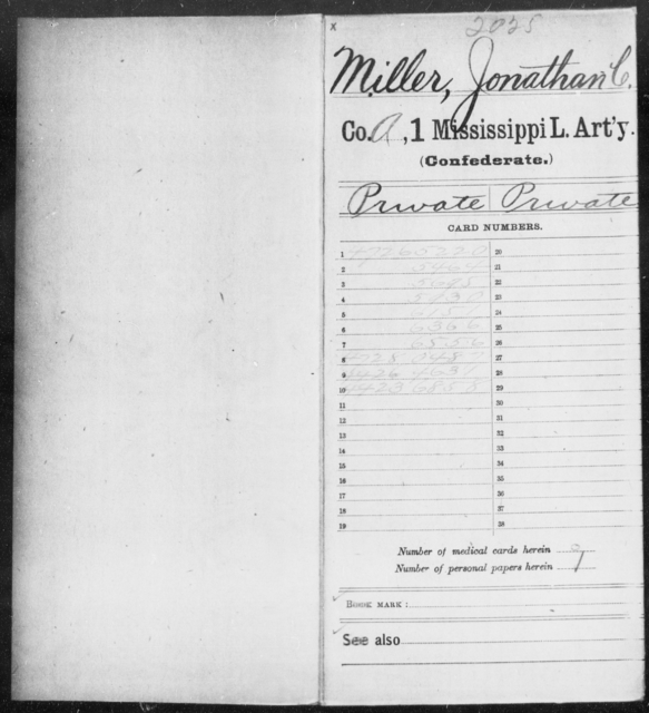 Miller, Jonathan C - Age: [Blank], Year: 1863 - Mississippi First Light Artillery, Me-Po