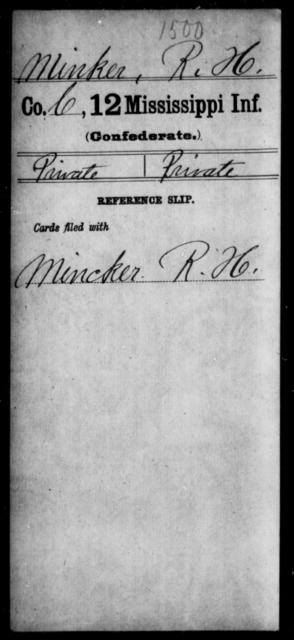 Minker, R H - Age: [Blank], Year: [BLANK] - Mississippi Twelfth Infantry, Me-Pe