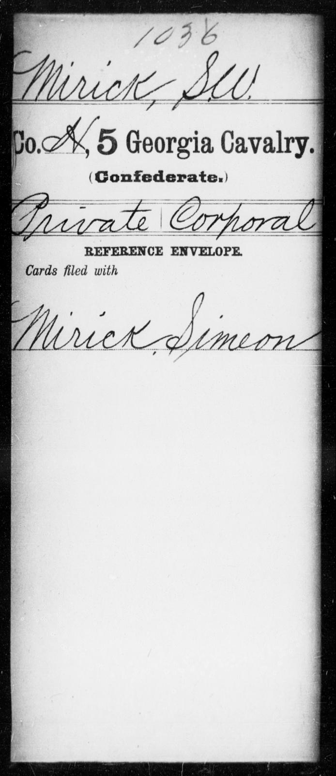 Mirick, S W - 5th Cavalry