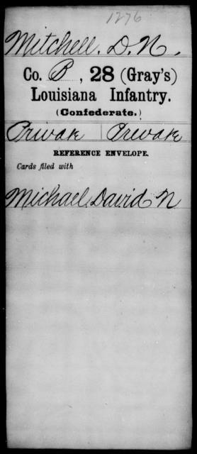 Mitchell, D N - Age [Blank], Year: [Blank] - Twenty-eighth (Gray's) Infantry, M - P - Louisiana