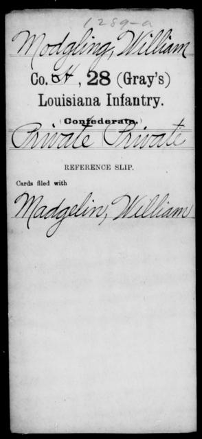 Modgling, William - Age [Blank], Year: [Blank] - Twenty-eighth (Gray's) Infantry, M - P - Louisiana