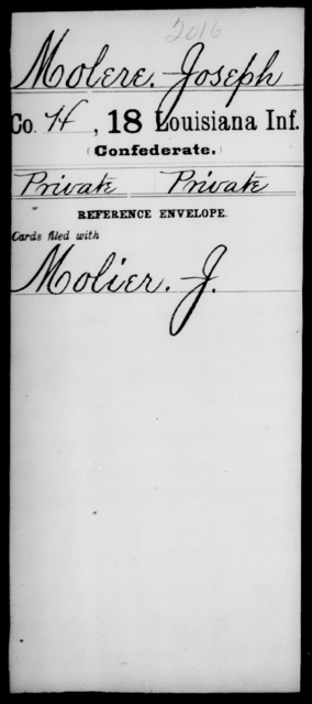 Molere, Joseph - Age [Blank], Year: [Blank] - Eighteenth Infantry, M - Pi - Louisiana