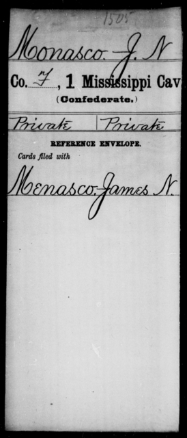 Monasco, J N - Age: [Blank], Year: [BLANK] - Mississippi First Cavalry, K-R