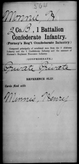 Monnie, H - Age [Blank], Year: [Blank] - First Battalion, Confederate Infantry, L-W - Raised Directly by the Confederate Government