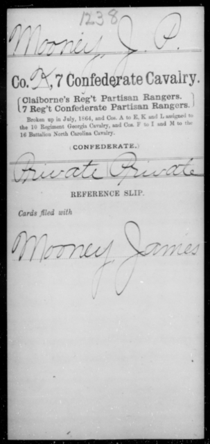 Mooney, J P - Age [Blank], Year: [Blank] - Seventh Confederate Cavalry, L-Pa - Raised Directly by the Confederate Government