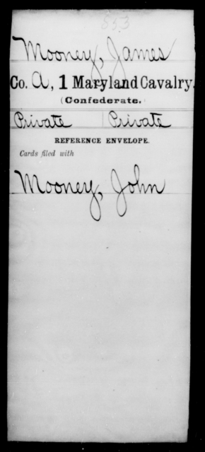 Mooney, James - Age [Blank], Year: [Blank] - First Cavalry, Lo-Q - Maryland