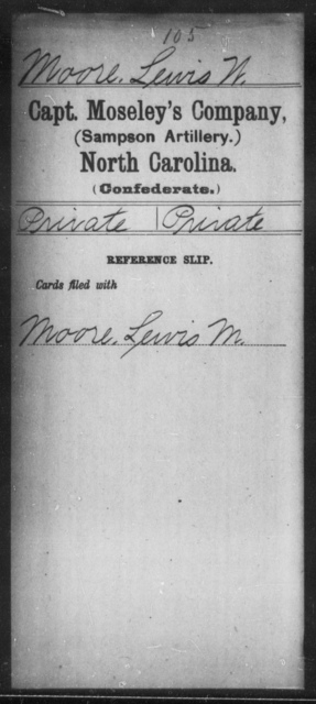 Moore, Lewis W - Thirteenth Battalion, Light Artillery AND Capt. Moseley's Co. (Sampson Artillery)