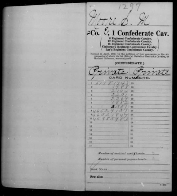 Moore, S M - Age [Blank], Year: 1863 - First Confederate Cavalry, I-N - Raised Directly by the Confederate Government