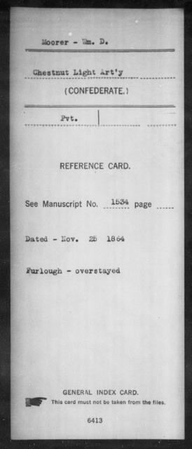 Moorer, Wm D - Age: [Blank], Year: [BLANK] - South Carolina Third (Palmetto) Battalion, Light Artillery M-Pl