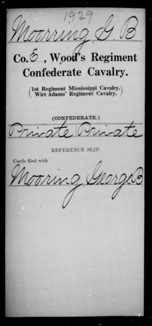 Moorring, G B - Age [Blank], Year: [Blank] - Wood's Regiment, Confederate Cavalry, M-O - Raised Directly by the Confederate Government