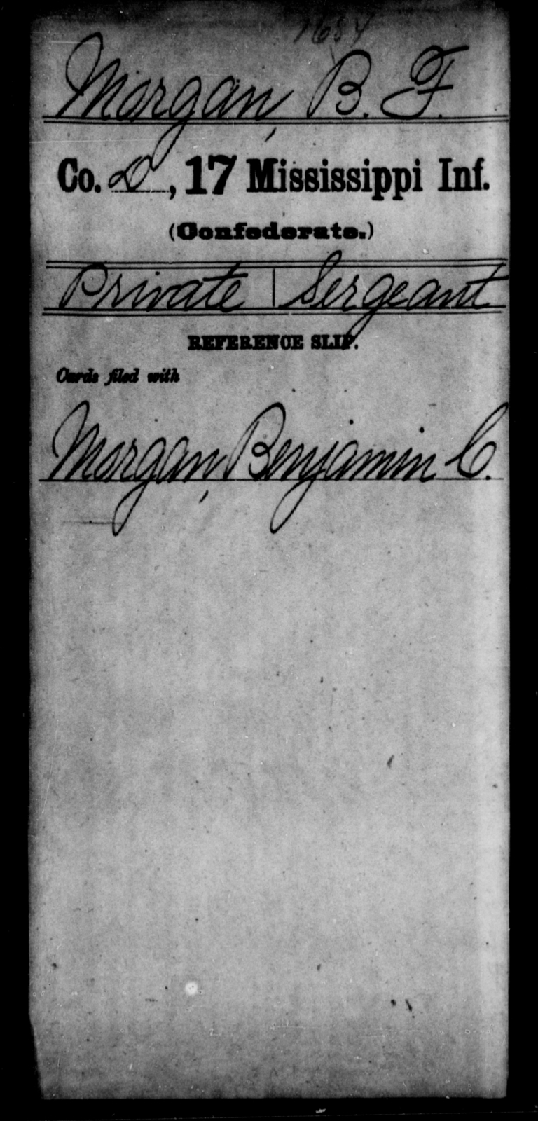 Morgan, B F - Age: [Blank], Year: [BLANK] - Mississippi Seventeenth Infantry, Mo-Pa