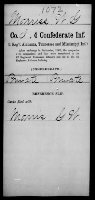 Morriss, W G - Age [Blank], Year: [Blank] - Fourth Confederate Infantry, G-N - Raised Directly by the Confederate Government
