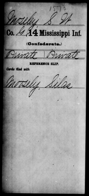 Moseley, S W - Age: [Blank], Year: [BLANK] - Mississippi Fourteenth Infantry, Mc-O