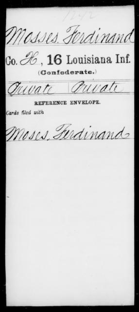Mosses, Ferdinard - Age [Blank], Year: [Blank] - Sixteenth Infantry, Mo - Re - Louisiana