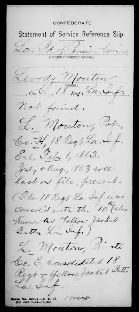 Mouton, Levody - Age [Blank], Year: [Blank] - Eighteenth Infantry, M - Pi - Louisiana