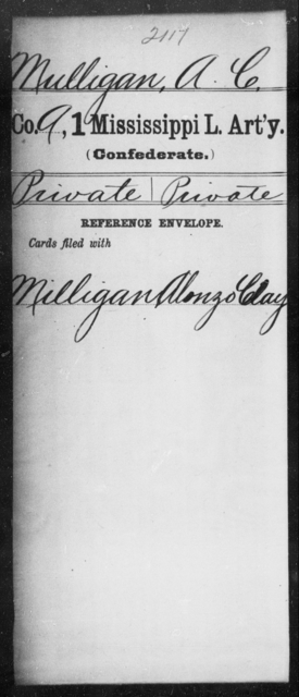 Mulligan, A C - Age: [Blank], Year: [BLANK] - Mississippi First Light Artillery, Me-Po