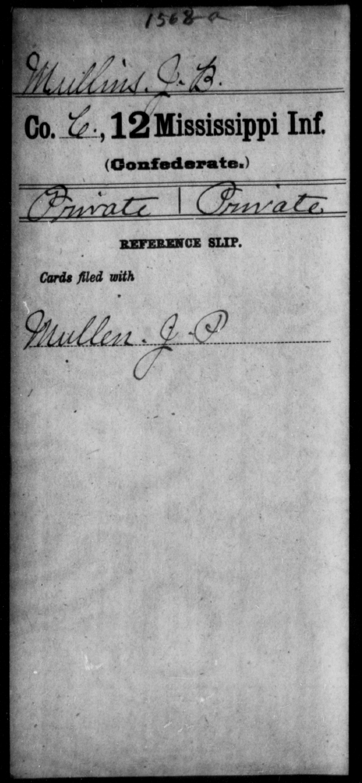 Mullins, J B - Age: [Blank], Year: [BLANK] - Mississippi Twelfth Infantry, Me-Pe