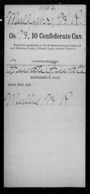 Mullyhr, H R - Age [Blank], Year: [Blank] - Tenth Confederate Cavalry, L-P - Raised Directly by the Confederate Government