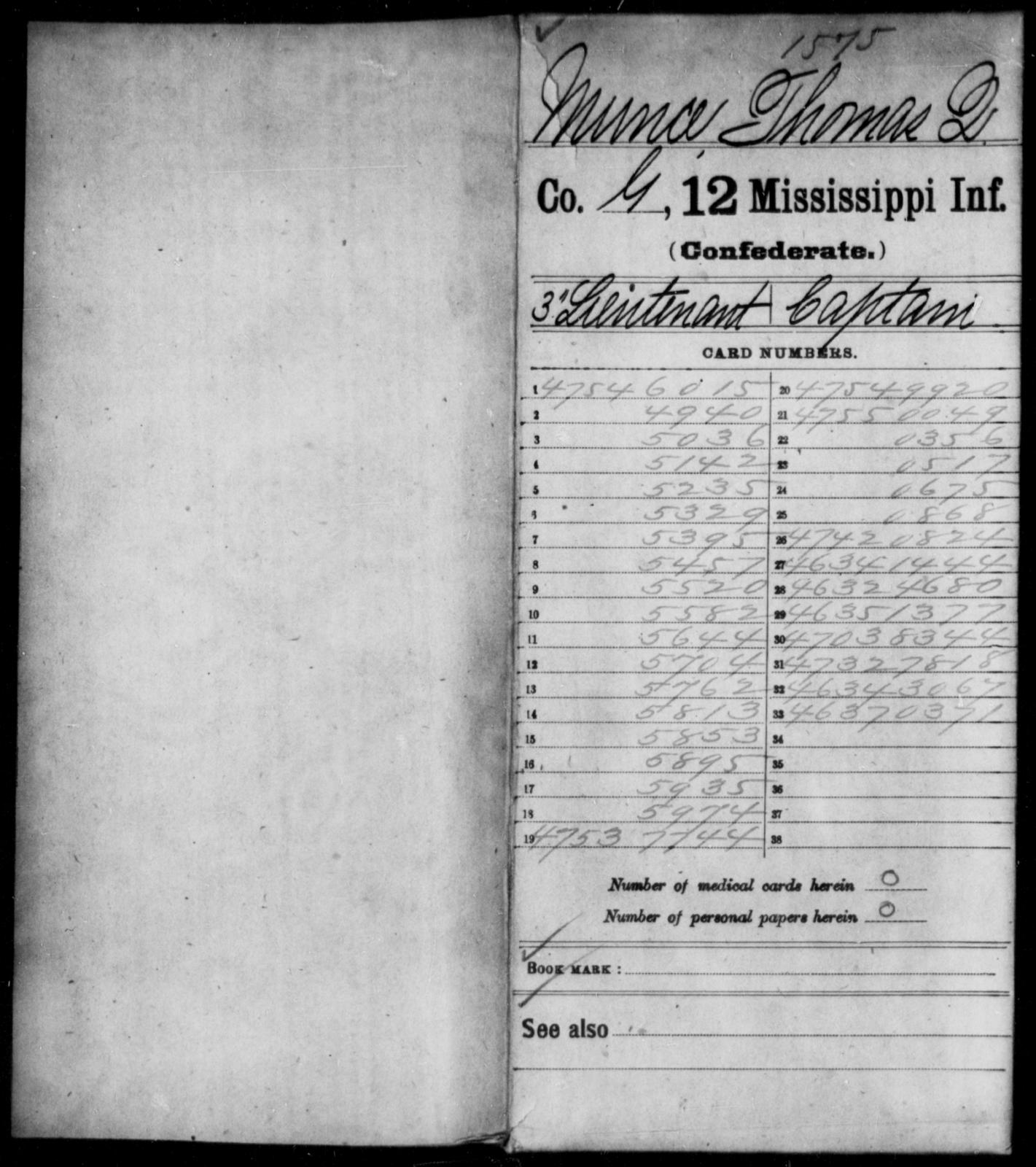 Munce, Thomas Q - Age: 18, Year: 1861 - Mississippi Twelfth Infantry, Me-Pe