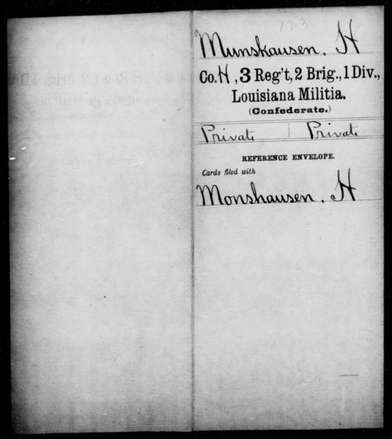 Munskausen, H - Age [Blank], Year: [Blank] - Third Regiment, French Brigade, P - Z - Louisiana