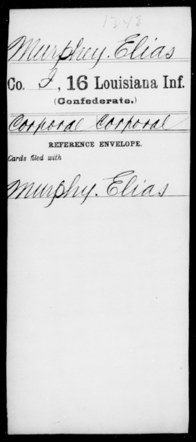 Murphey, Elias - Age [Blank], Year: [Blank] - Sixteenth Infantry, Mo - Re - Louisiana