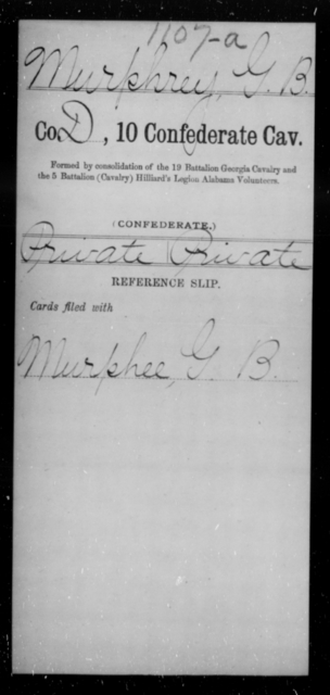 Murphrey, G B - Age [Blank], Year: [Blank] - Tenth Confederate Cavalry, L-P - Raised Directly by the Confederate Government