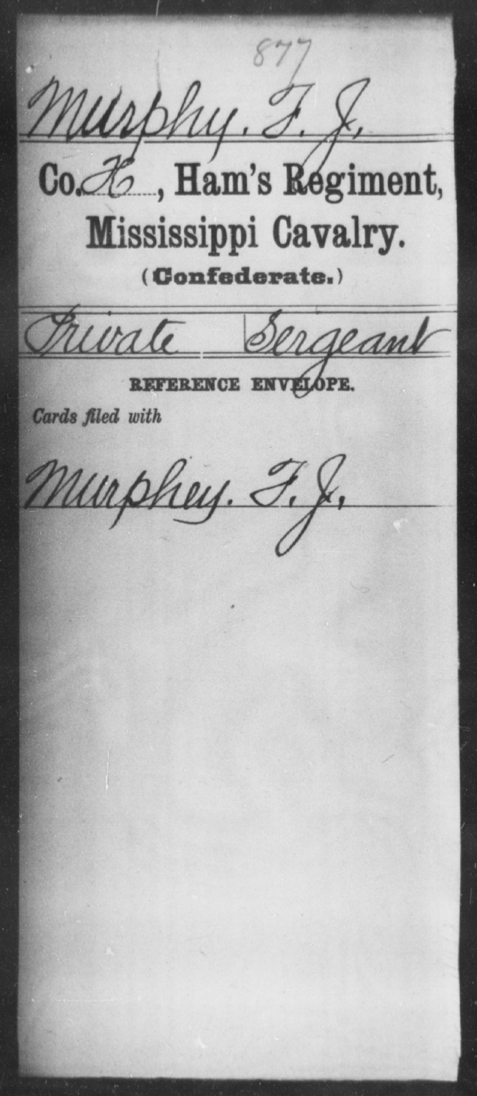 Murphy, F J - Age: [Blank], Year: [BLANK] - Mississippi Ham's Regiment, Cavalry, H-S