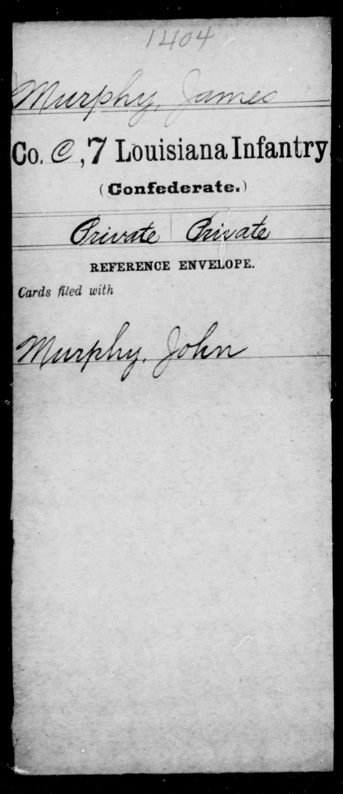 Murphy, James - Age [Blank], Year: [Blank] - Seventh Infantry, Mu - Re - Louisiana